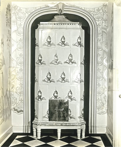Entry: antique porcelain stove imported by special permission of Swedish government
